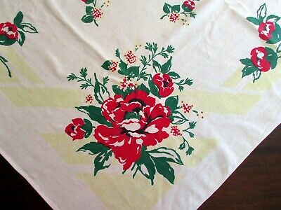 """Vintage Tablecloth, Shabby Chic, Bright Red Roses,  48"""" x 48"""" - Now $50% off!"""