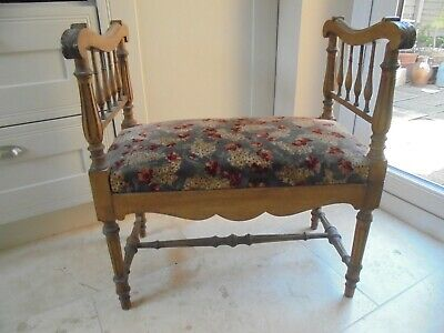 Antique French window seat, vanity bench, walnut Louis XVI style, c1890