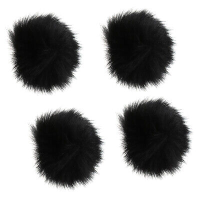 4Pcs Black Outdoor Microphone Windscreen Wind Muff Furry Cover for Lapel Mic