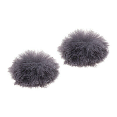 2Pcs Gray Outdoor Microphone Windscreen Wind Muff Furry Cover for Lapel Mic