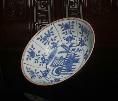 """Old Rare Large Blue and White Chinese Porcelain Bowl Wanli MK 9"""""""