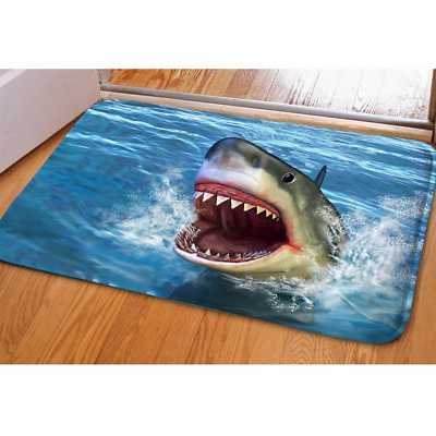 HUGS IDEA Shark 3D Printed Front Doormat Indoor Outdoor Rectangular Floor Mat
