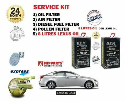 Pour Lexus IS220D 2.2DT 2005-2010 Air Huile Carburant Filtre Pollen Ensemble + 8