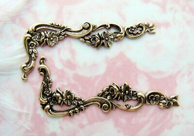 ANTIQUE BRASS (2 Pieces) Flower Scroll CORNER Stamping Ornament Leaves (C-1105)