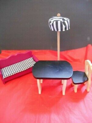 Wood Doll House Lot of Furniture Wooden Modern Sofa Table Chair Floor Lamp