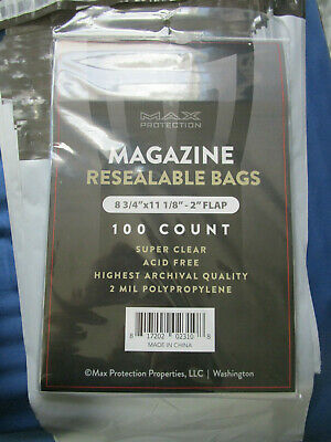Max Protection 100 count Resealable Magazine Bags 8 3/4 x 11 1/8
