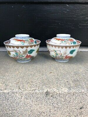 Antique Japanese Fukagawa Arita Hand painted Porcelain Covered Bowls Marked