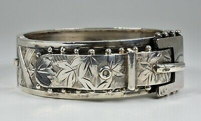 Antique Victorian Solid Silver Aesthetic Hinged Buckle Bracelet, (B'ham,1884)