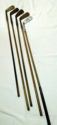 Antique Wooden Shaft Golf Clubs lot of 5 - Need lots of TLC CHEAP!!