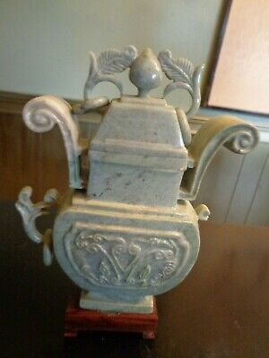 Antique Chinese Jade Jadeite Moss Green Vase As Is