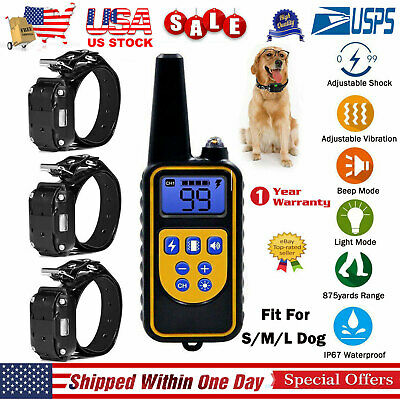 Dog Shock Training Collar Electronic Remote 875 Yards Waterproof For 1/2/3 Dogs