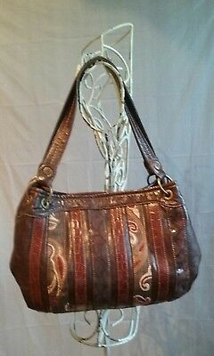 Beautiful! RELIC Whiskey Brown Patchwork Handbag Top Quality Vegan Leather EUC