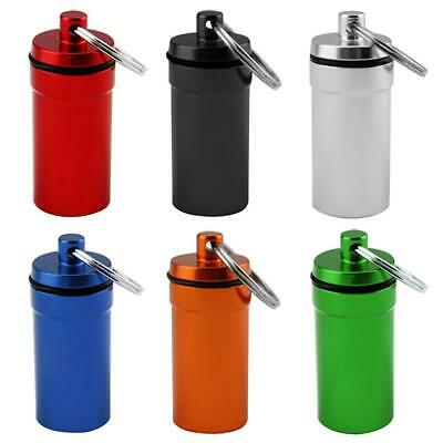 Mini Aluminum Alloy Waterproof Sealing Pill Box Medicine Storage Bottle Keychain