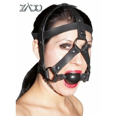 ZADO Maschera con morso nero BDSM Bondage Fetish Mask Hood Open Mouth Eye Bondag