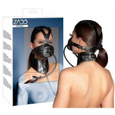 Zado maschera di cuoio BDSM Bondage Fetish Mask Hood Open Mouth Eye Bondage SLAV