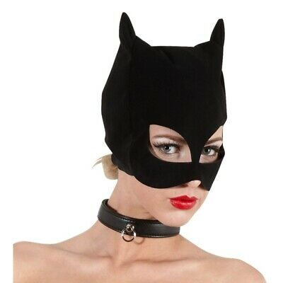 Bad Kitty gatto Katzenmaske BDSM Bondage Fetish Mask Hood Open Mouth Eye Bondage