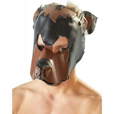 fetish maschera testa di cane BDSM Bondage Fetish Mask Hood Open Mouth Eye Bonda