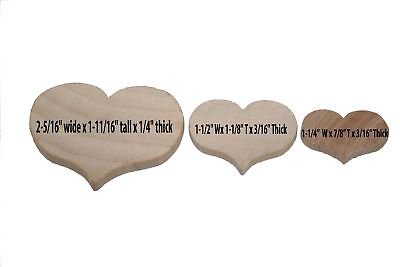 ONE Inch Wide Natural Wood Heart 100 Solid Wood Hearts 1//8 Inch Thick