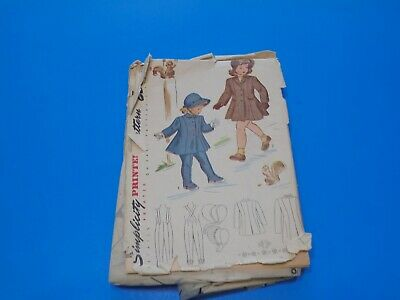 Simplicity Sewing Pattern 1998 Toddler Girl Coat Leggings Hat Size 4 VTG 1940s
