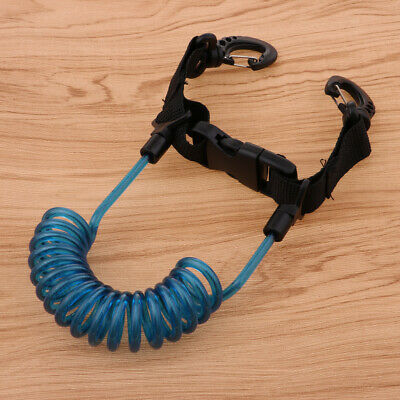 Scuba Diving Coil Camera Lanyard Double Side Clips Quick Release Buckle Blue