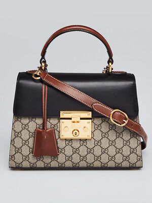 a82c94ebc3bb Gucci Beige/Black GG Supreme Coated Canvas and Leather Signature Padlock  Small