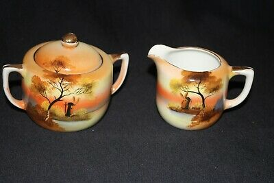 vintage NORITAKE china milk jug lidded sugar bowl set orange WINDMILL