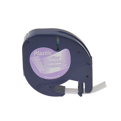"""20PK Plastic Label Tape for DYMO Letra Tag 16952 12267 Black on Clear 1/2"""""""
