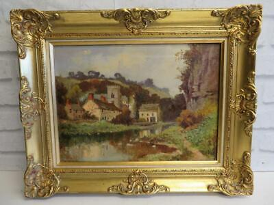 really old PAINTING antique oil Landscape signed 1916