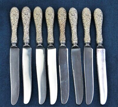 8 Stieff Sterling Silver Knives Pattern is Rose