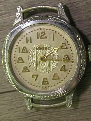 Vintage Antique Art Deco Chronometer Metro Swiss Wrist Watch Face 6 Jewels