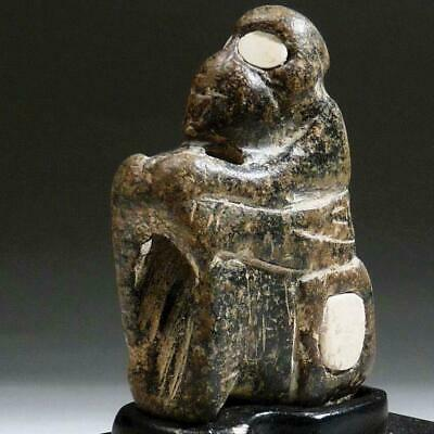 BACTRIAN Stone MONKEY, INLAID Alabaster EYES Composite Rare Bronze Age 1800 BC