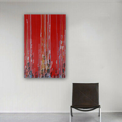 Modern Abstract Handmade Oil Painting On Canvas Wall Art Decor Framed Lines