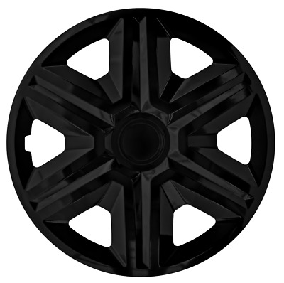 15 Inch Wheel Trim Set Gloss Black Set of 4 Univers Hub Caps Covers [AKTNBlack]