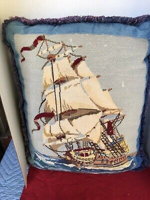 Vintage Antique Needlepoint Big Pillow