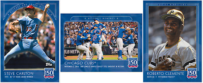 2019 Topps 150 Years Of Baseball Cards 31 -33 (Carlton, Cubs Ws, Clemente)
