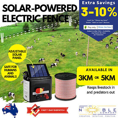 Solar Powered Electric Fence Charger Kit Farm Garden Energiser Solar Fence Kit