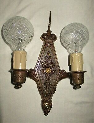 2 Antique Art Deco Gothic Bronzed Sconces Light Fixture Chandelier Moe Bridges
