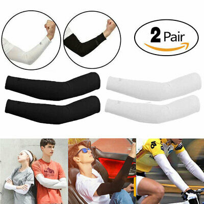 2 Pair Unisex Outdoor Sports Cooling Arm Sleeves Cover UV Sun Protection 2019