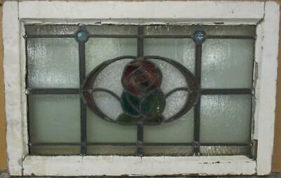 "OLD ENGLISH LEADED STAINED GLASS WINDOW TRANSOM Bordered Floral 25.5"" x 16.25"""