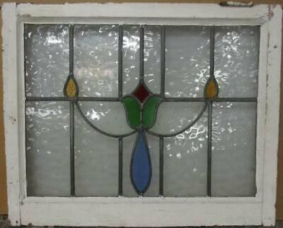 "MIDSIZE OLD ENGLISH LEADED STAINED GLASS WINDOW Abstract Floral 27"" x 21.75"""