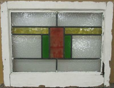 "OLD ENGLISH LEADED STAINED GLASS WINDOW Nice Geometric Band 22.25"" x 17.25"""