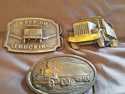 Vintage Trucker Belt Buckles lot of 3