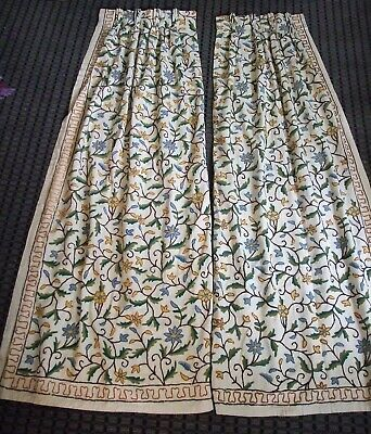 Vtg curtain sets 4 panels Floral Blue Crewel Fabric Blue Wool Embroidered linen