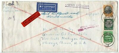 61823. Germany Air Mail Cover with stamps Apr 26, 1940 censor opened from Berlin