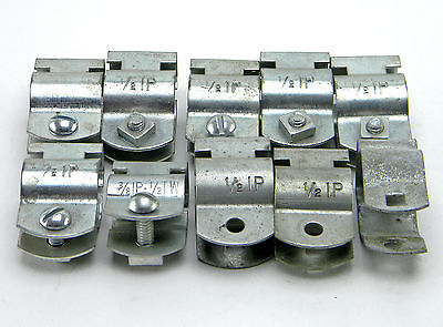 """Lot Of 10 New 3/8"""" Ip - 1/2"""" Tw Conduit Hanger Clamps With Bolt & Nuts"""
