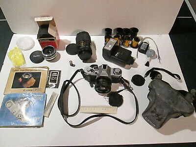 CANON AV-1 35MM SLR Film Camera with 2 Lenses, Teleconverter, 4x Rolls Film