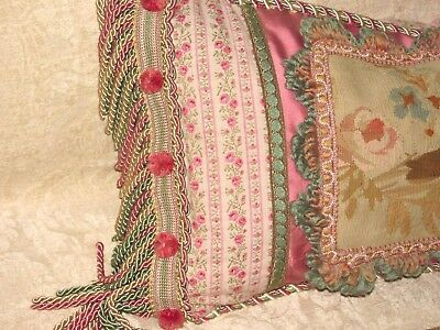 "Beautiful Authentic Aubusson Tapestry Boudoir Pillow 26"" X 15"""