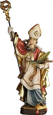Statue of st Chiliano cm 20 Carved Wood of Valgardena Hand Decorated