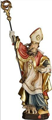 Statue of st Corbinian cm 20 Carved Wood of Valgardena Hand Decorated