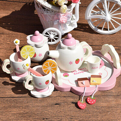 5Pcs Kids Wooden Tea Set Box Children Tea Party Role Play Christmas Toy Gifts